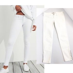 Hollister Skinny White Ankle zip jeans 26 3